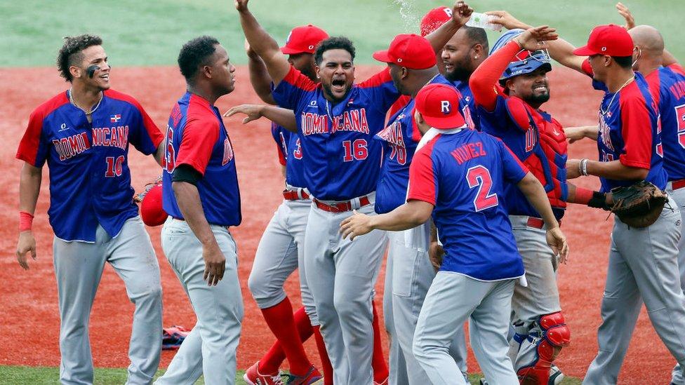 República Dominicana celebra su victoria frente a Corea del Sur.