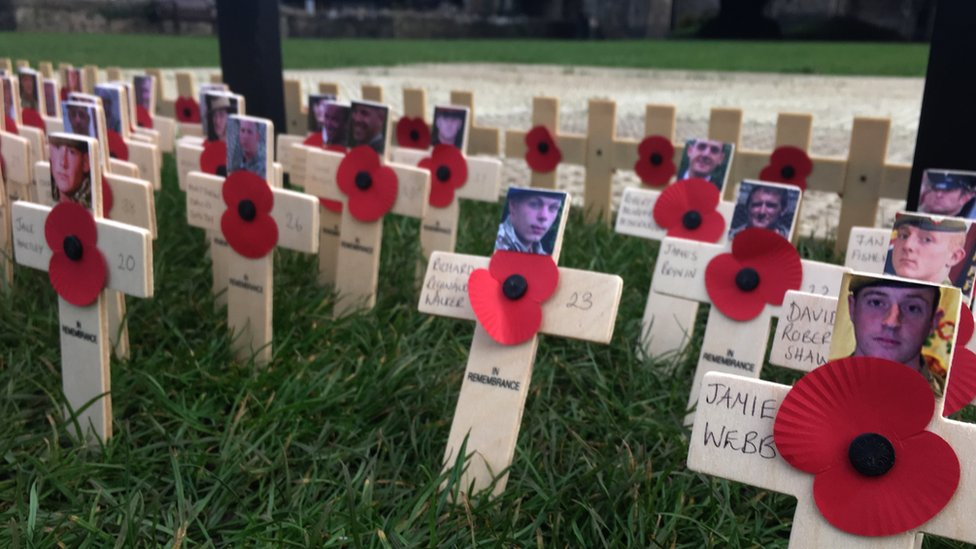 Tributes and poppies