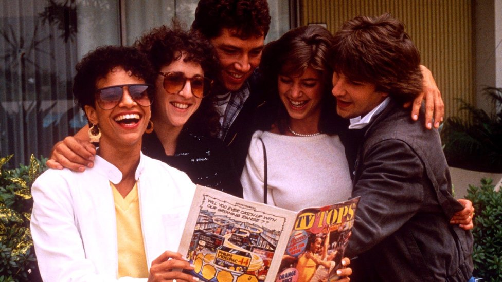 L-R: Debbie Allen, Valerie Landsburg, Billy Hufsey, Cynthia Gibb And Carlo Imperato of Fame in 1984