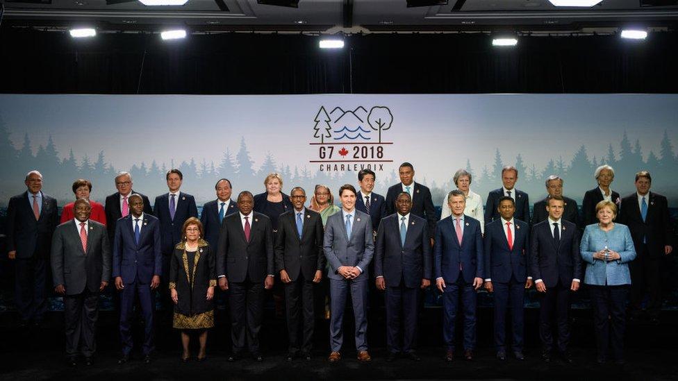Foto de familia de la cumbre del G7.