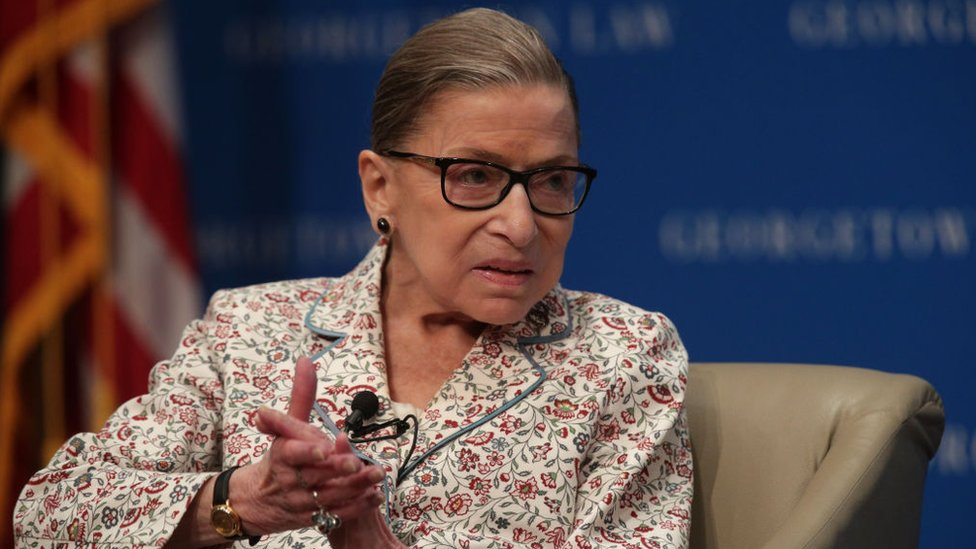 US Supreme Court Associate Justice Ruth Bader Ginsburg participates in a discussion at Georgetown University Law Center 2 July, 2019 in Washington, DC