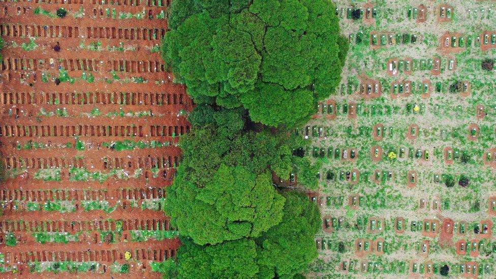 Imagem aérea do cemitério de Vila Formosa (SP), com valas abertas à esquerda e valas preenchidas à direita