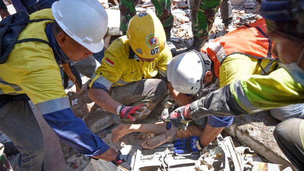 Akcija spašavanja žene zarobljene pod ruševinama, Lombok, avgust 2018.