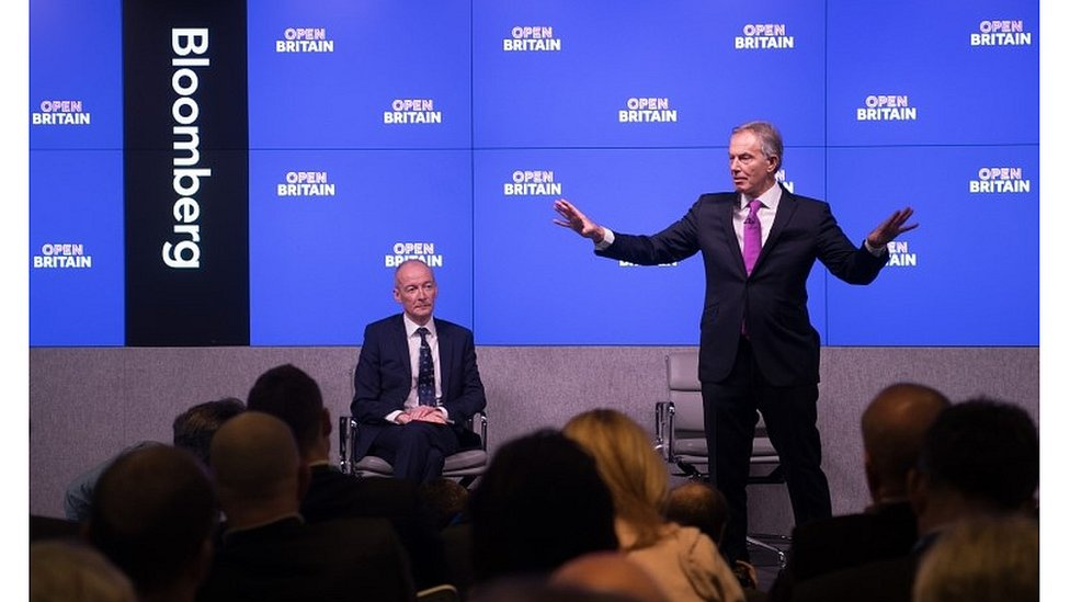 Tony Blair speaking in central London
