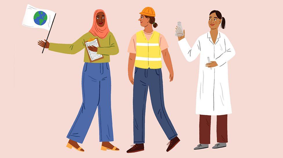 Illustration showing three women professionals