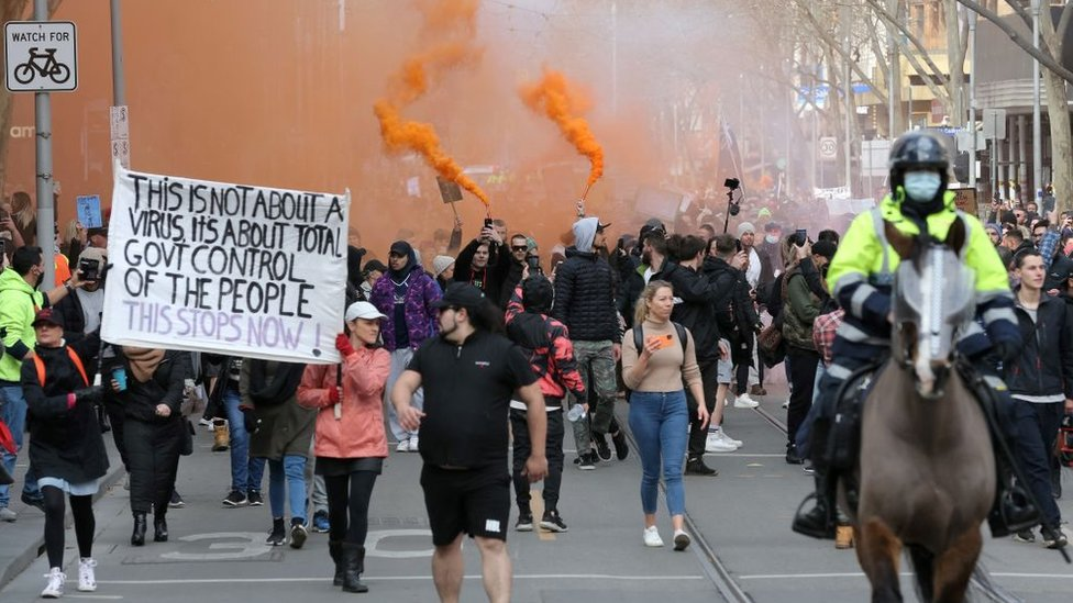 Manifestantes en Melbourne.