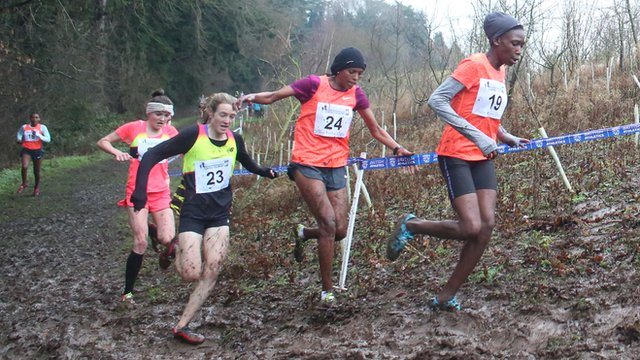The athletes had to battle through muddy conditions in Antrim