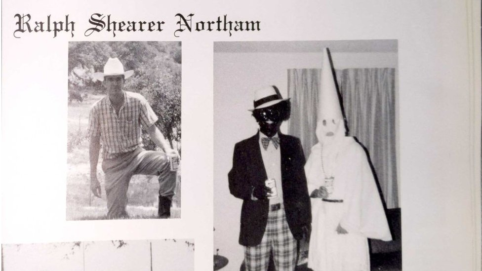 Ralph Northams page in the 1984 yearbook of Eastern Virginia Medical School in which he reportedly appears in blackface with a friend in a KKK costume