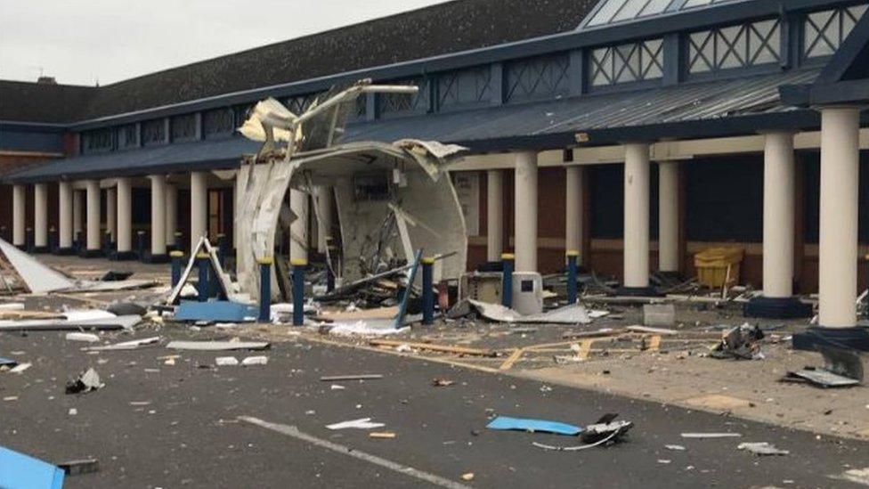 A damaged kiosk in Darlington