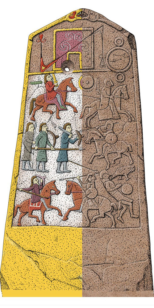 Illustration of a painted Pictish stone