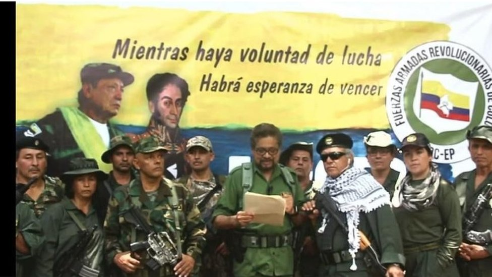 Screengrab of the video released by FARC-EP