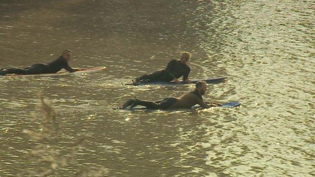 Severn Bore surfers