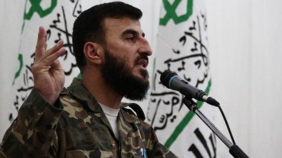 A file picture taken June 25, 2014 shows Zahran Alloush, the leader of Jaysh al-Islam