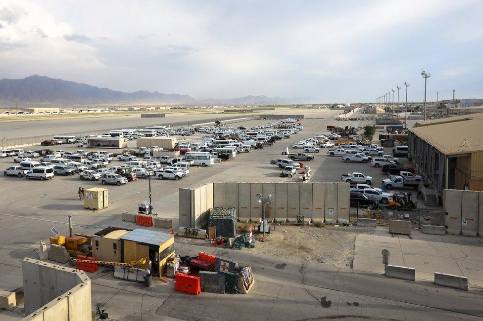 Base aérea de Bagram, tras ser desocupada por el ejército de EE.UU., 05 de julio de 2021.