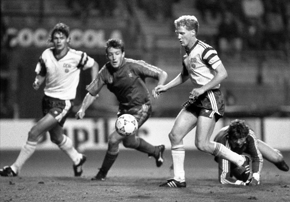 The last international match of the DDR in Brussels, Belgium, September 1990
