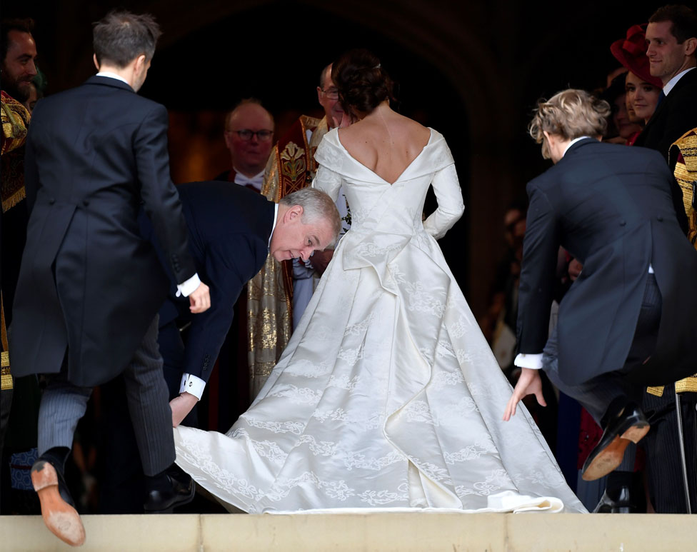 "Princess Eugenie arrives accompanied by her father Prince Andrew, Duke of York, at St George""s Chapel for her wedding to Jack Brooksbank in Windsor Castle"