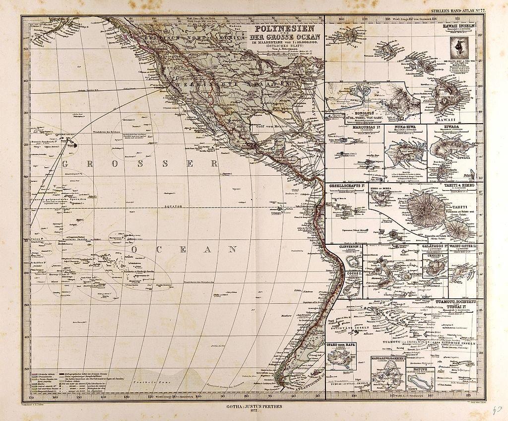 Mapa de la cuenca pacífica del continente americano y Polinesia