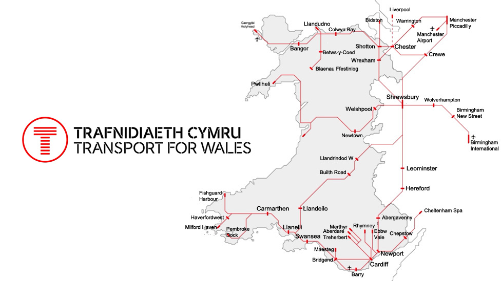 How the Wales and borders main rail network looks