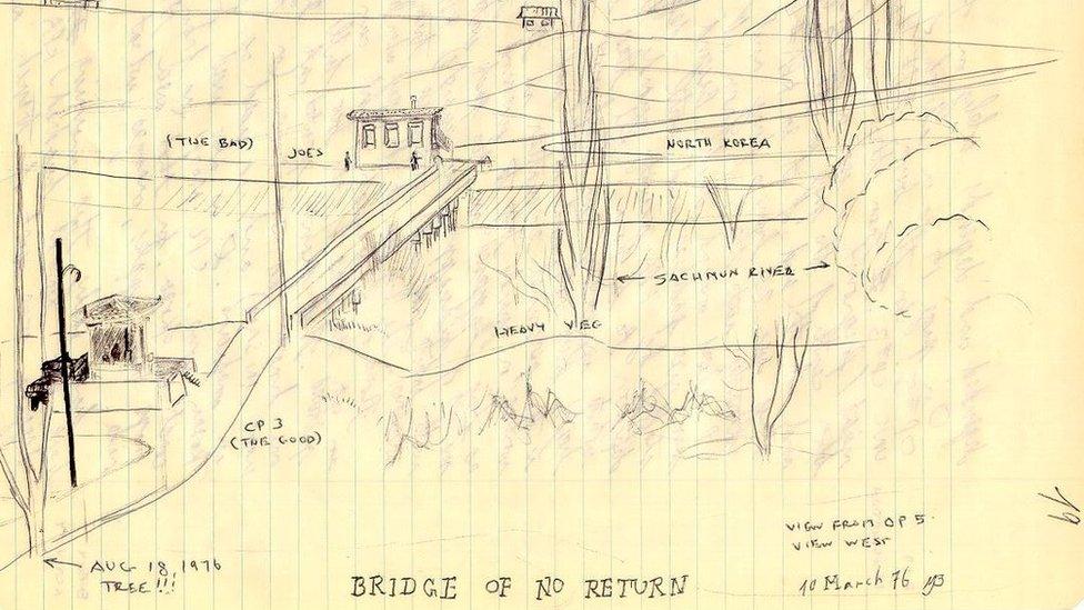 """رسم لمايك بيلبو يبين """"جسر اللا عودة"""" بين الكوريتين. وتظهر الشجرة في الزاوية السفلى اليسرى للرسم"""