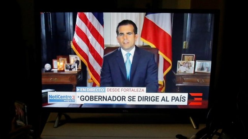 Puerto Rico's Governor Ricardo Rosselló announces that he will resign. Photo: 24 July 2019