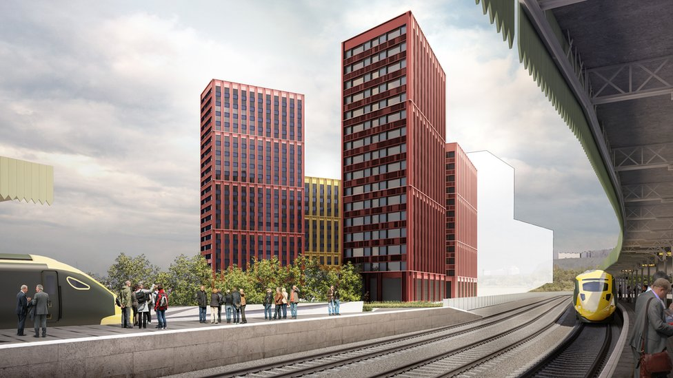 Artist's impression showing the proposed student flats next to Bristol Temple Meads