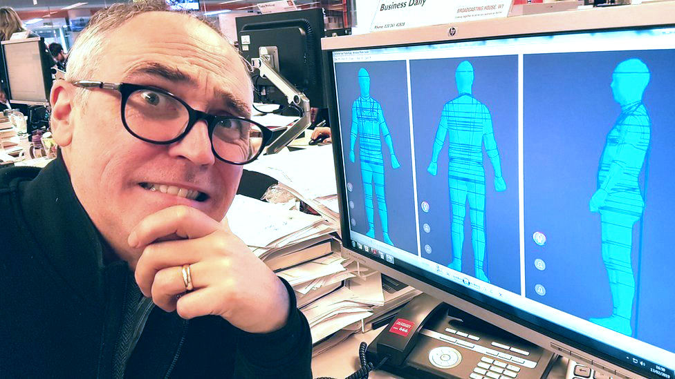 Ed Butler looking worried about his body scan images
