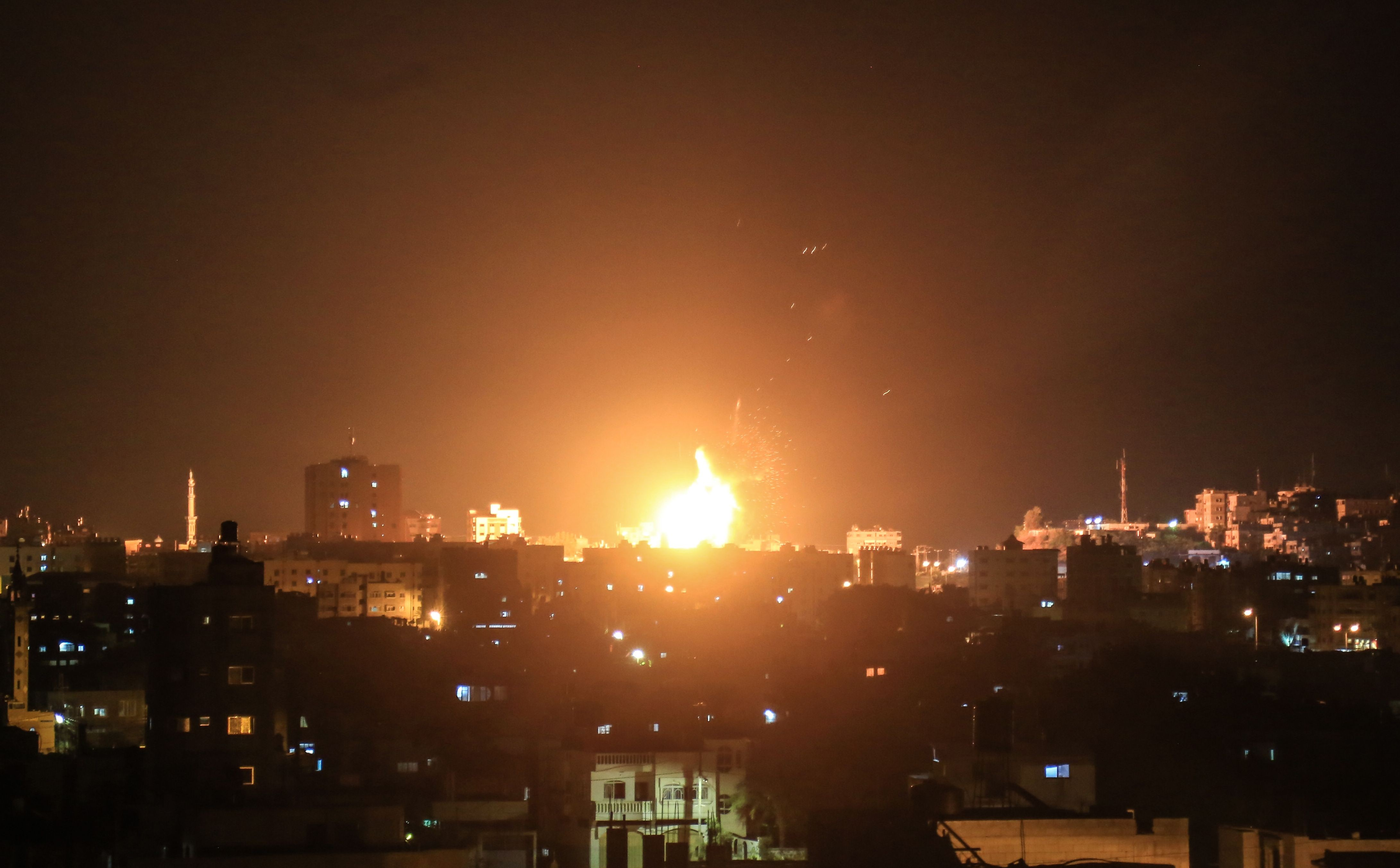 An explosion in Gaza after Israeli air strikes on 20 June 2018