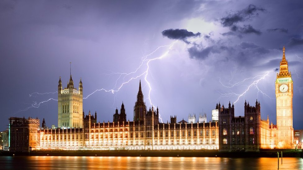 The Houses of Parliament during a thunderstorm