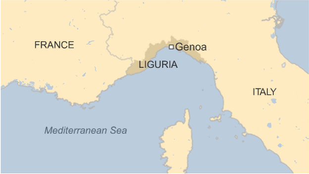 Map of Italy showing Liguria