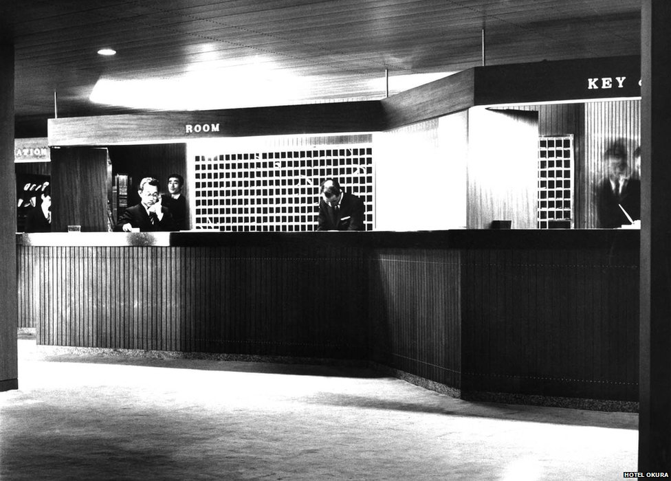 Picture of the reception in Hotel Okura in the 1960s.