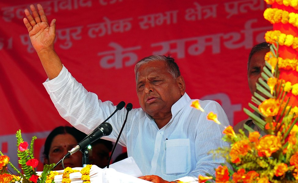 Indian Samajwadi Party President Mulayam Singh Yadav addresses an election campaign rally in support of local candidates at KP Ground in Allahabad on May 3, 2014.