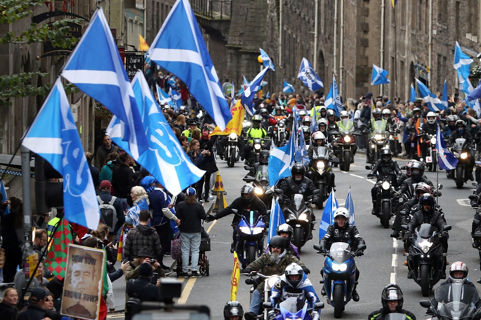 Bikers taking part in the march