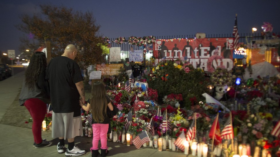 Memorial for the 14 people were killed in the San Bernardino massacre