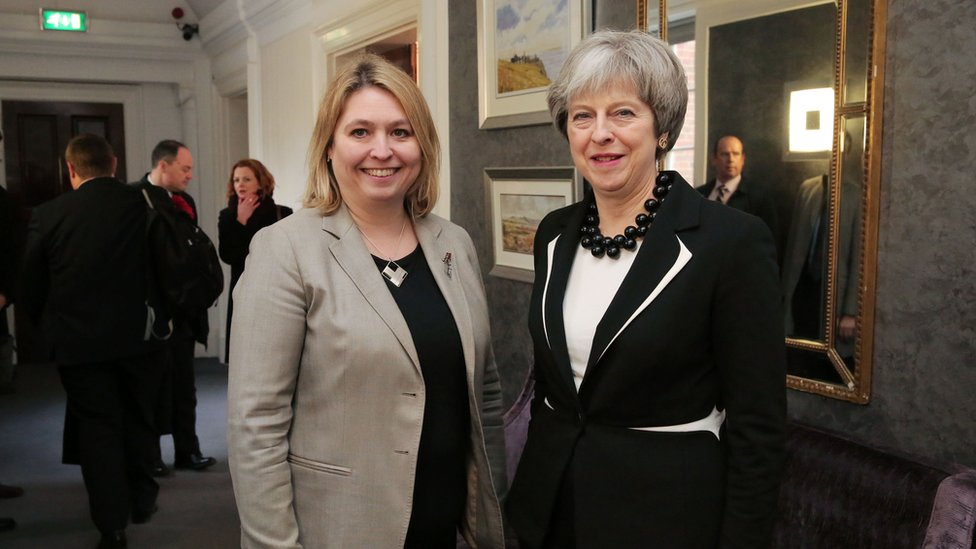 Northern Ireland Secretary of State Karen Bradley with Theresa May