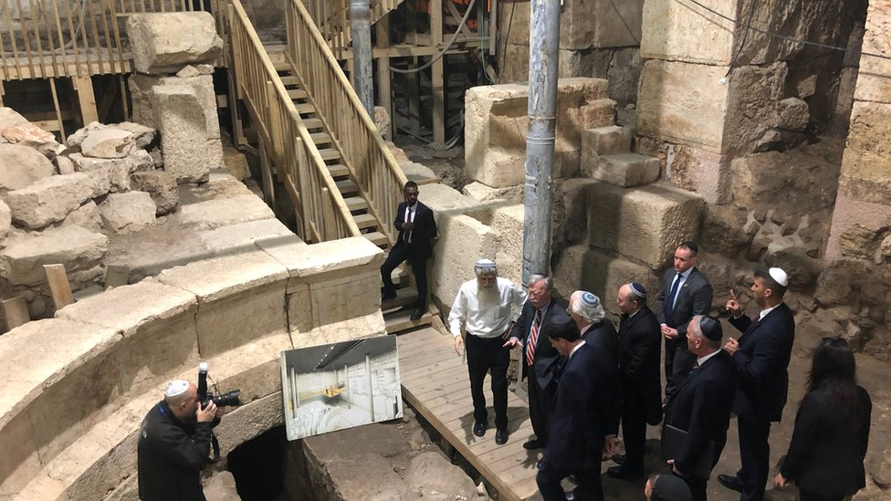 John Bolton visits excavation works underneath the Western Wall tunnels in Jerusalem's Old City January 6, 2019