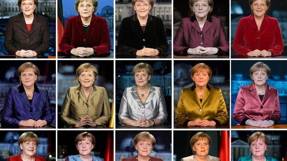 Merkel en los discursos de Año Nuevo entre 2005 y 2019.