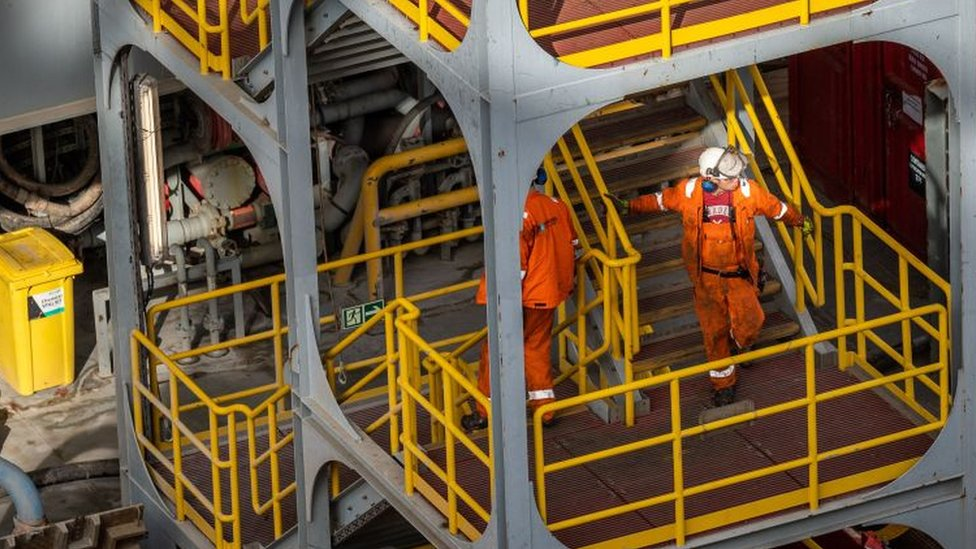 Workers on a Danish oil rig