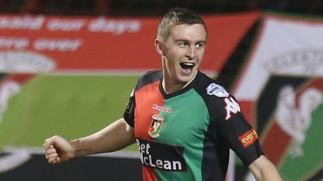 Glentoran's Jay Magee celebrate his Irish Cup goal against Ards