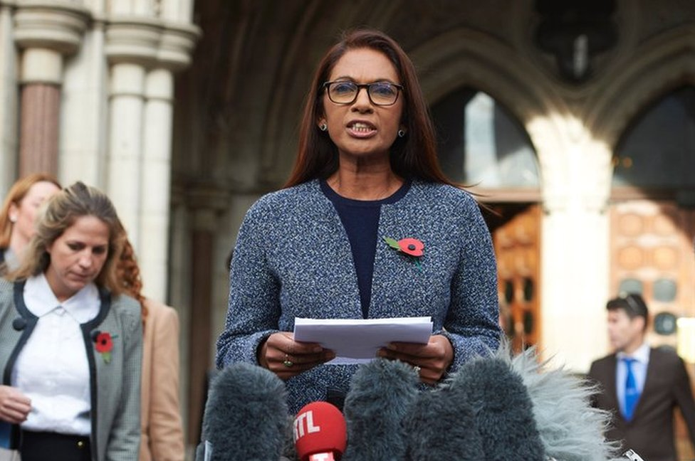 Gina Miller reads a statement outside the High Court in central London on 3 November 2016