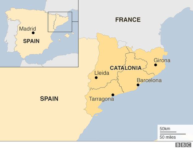Map of Catalonia in Spain