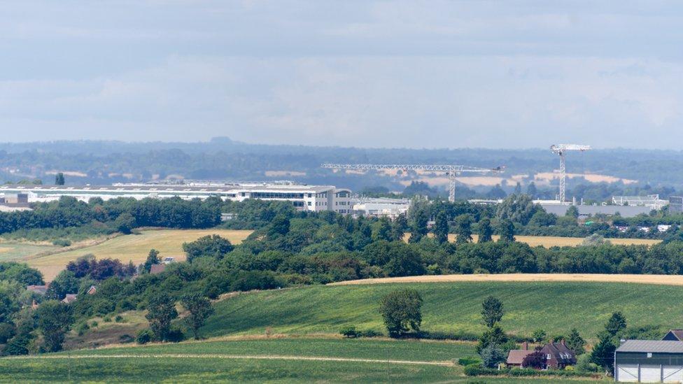 Gaydon Warwickshire England UK JLR Jaguar Land Rover engineering plant seen from a distance