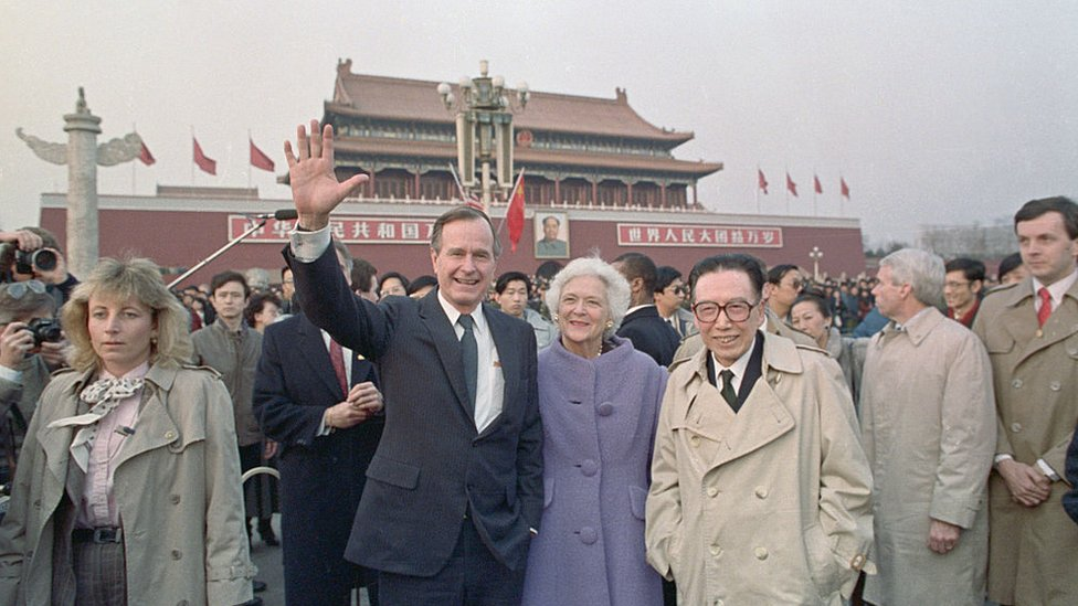 George HW Bush wife Barbara in Tiananmen Square in Beijing during a visit to China in 1989