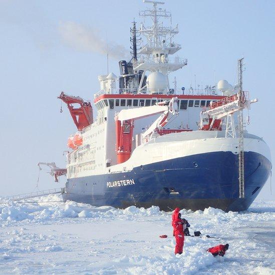 Rompehielos Polarstern varado en el hielo en el Ártico
