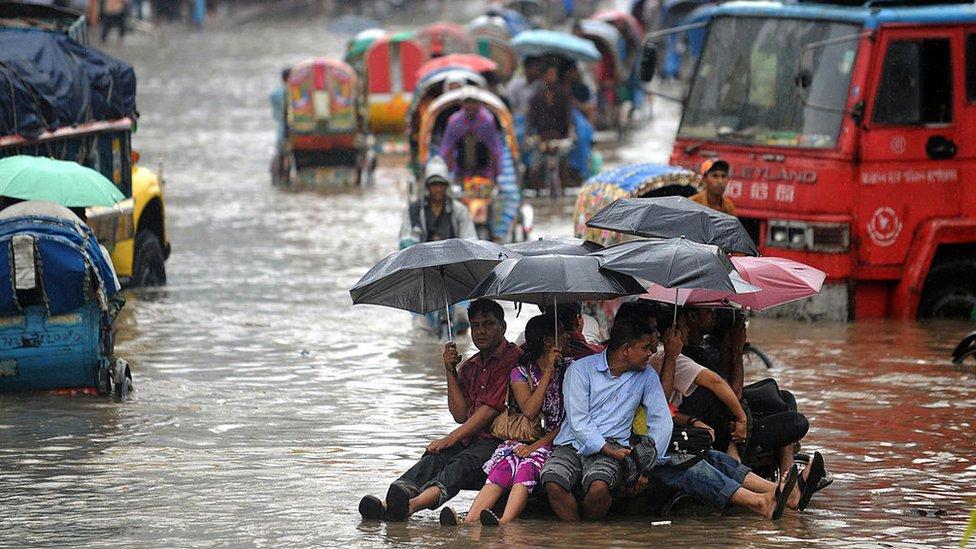 Dhaka, Bangladehs, saat banjir