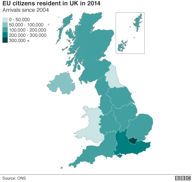 Graphic of EU citizens resident in UK in 2014