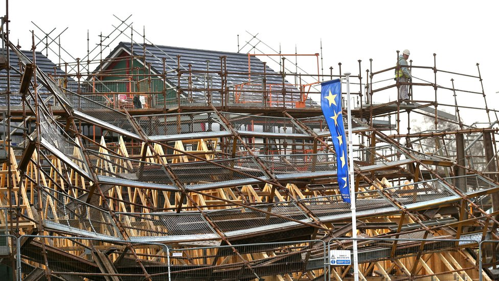 Scaffolding has collapsed in Woodilee Village, Lenzie