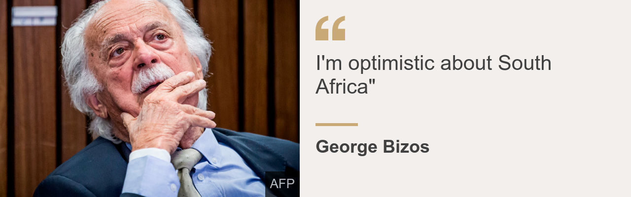 """Quote card.  George Bizos: """"I'm hopeful about south africa"""""""