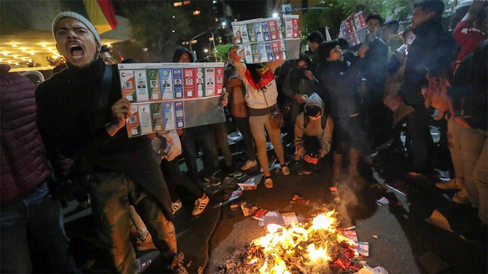 Manifestantes en Bolivia