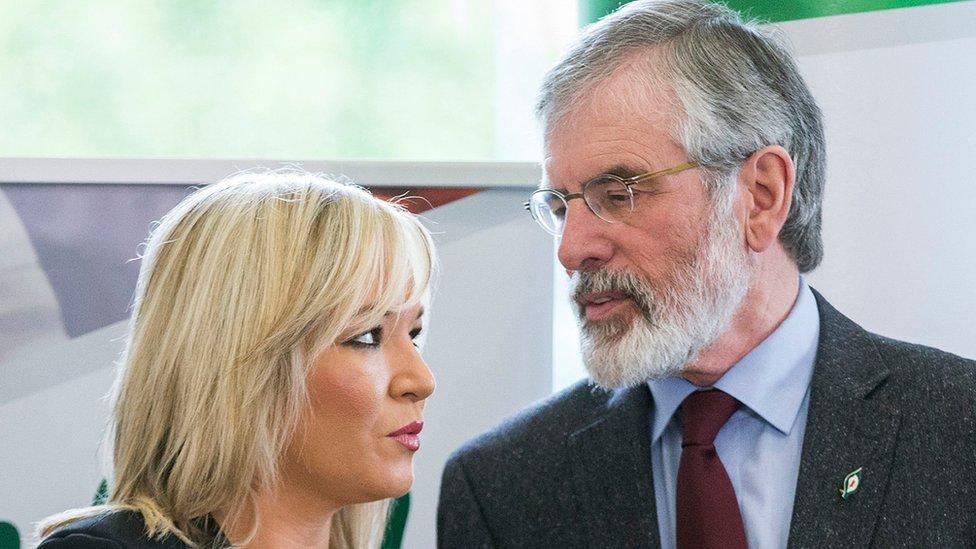 Sinn Féin's Michelle O'Neill and Gerry Adams