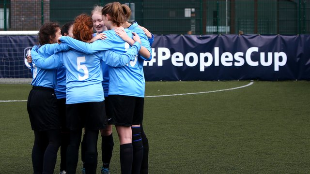 A women's team talk during the FA People's Cup